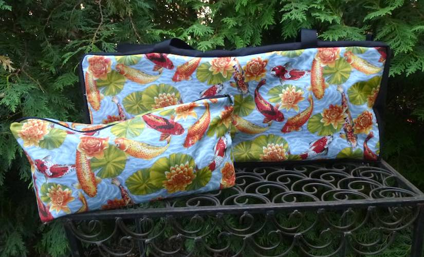 Koi and Water Lilies Mahjongg Storage Set The Zippered Tote-ster and Large Zini