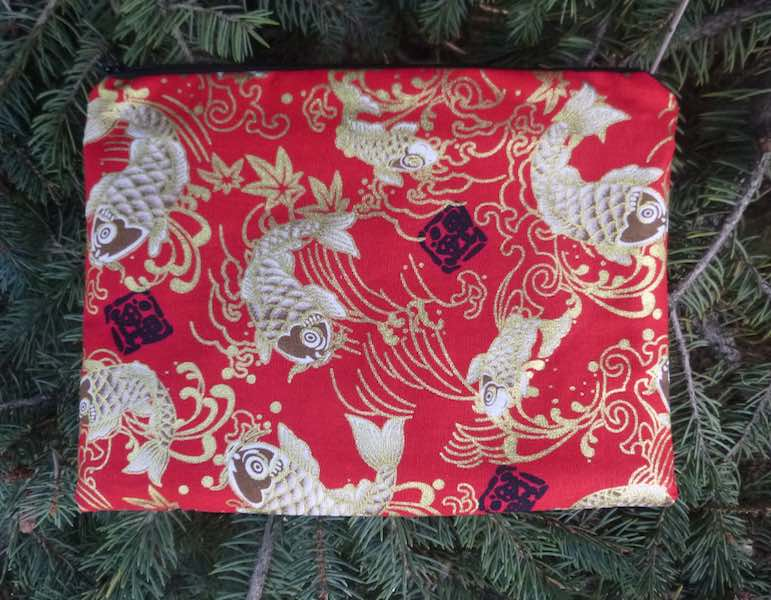 Koi on Red Mahjongg card and coin purse, The Slide