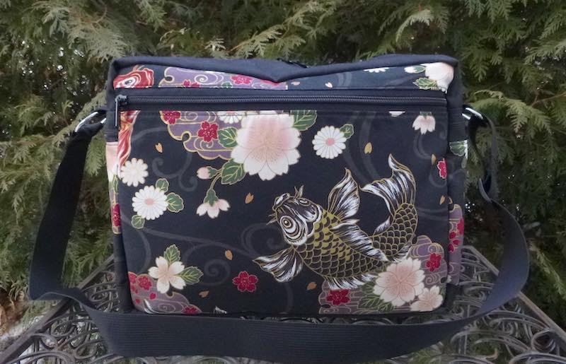 Koi on Black Tilly Shoulder Bag