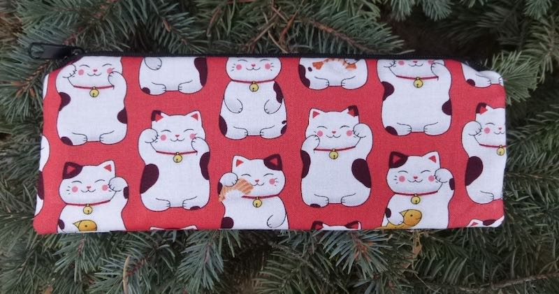 Lucky Cats pen and pencil case, crochet hook pouch, The Scribe