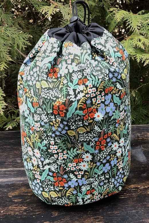 Meadow SueBee Round Drawstring Bag. Rifle Paper fabric.
