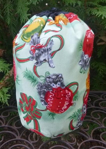 Merry Christmas Kitties SueBee Round Drawstring Bag