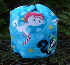 Mod cats in blue SueBee Round Drawstring Bag