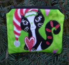 Mod Christmas Kitties in Green Coin Purse, The Raven