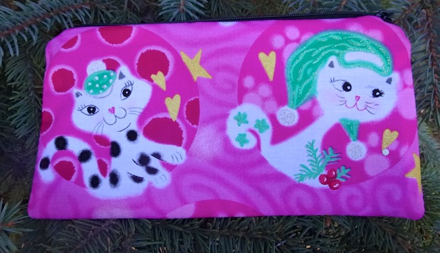 Mod Christmas Kitties in Pink Deep Scribe pen and pencil case