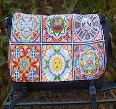 Mosaic tiles Panther Messenger Bag