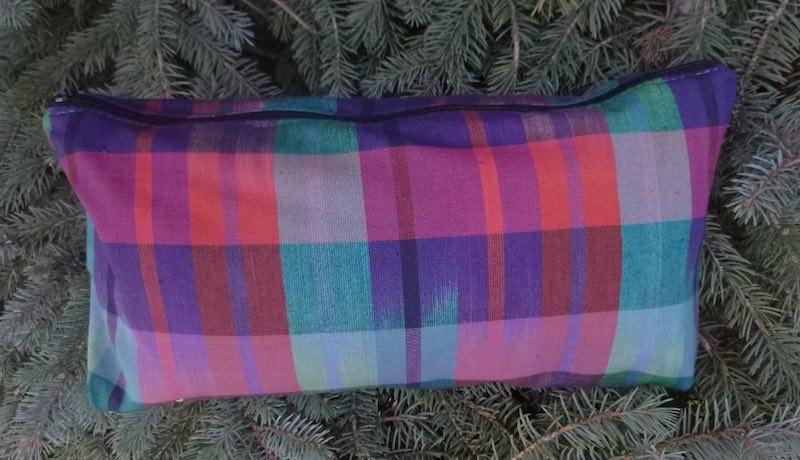 Multi-color Plaid Large Zini Flat Bottom Bag