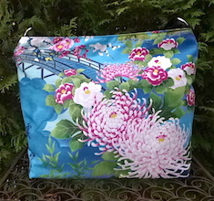 Japanese Mums and Bridge Britta zippered tote