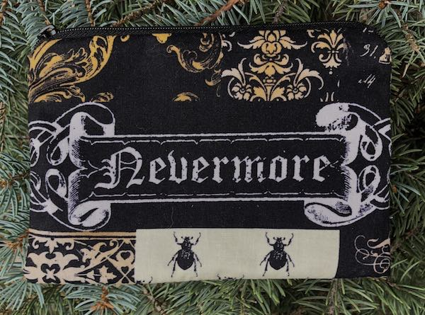 Nevermore, Tribute to Edgar Allan Poe, Goldie zippered bag