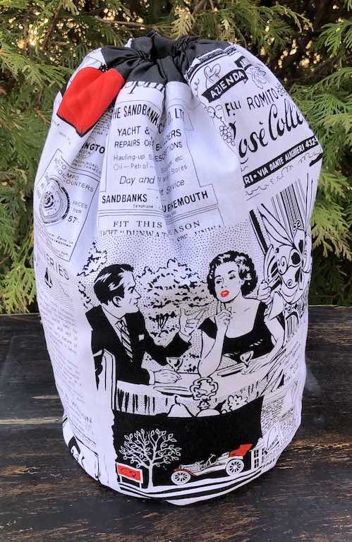 Retro Ads drawstring bag, The Large Suebee