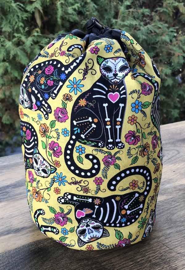 Nine Lives SueBee Round Drawstring Bag