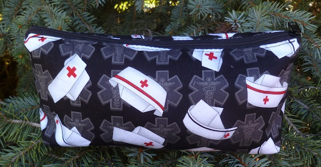 Nurses caps on black flat bottom bag, The Zini
