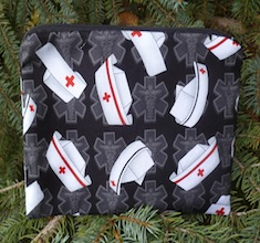 Nurses caps on black zippered bag, The Scooter