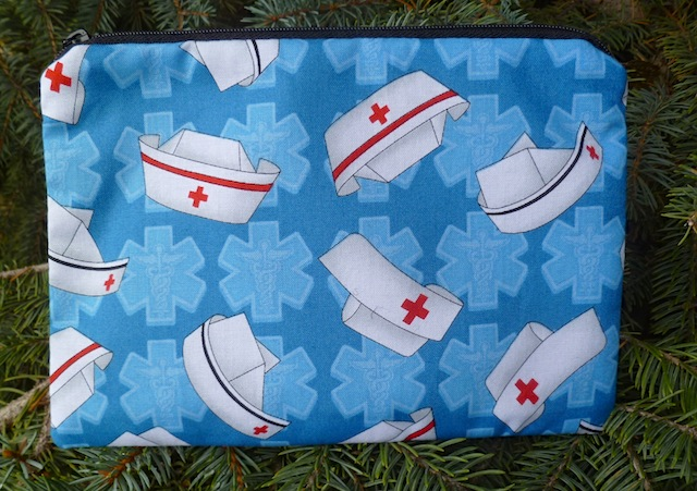 Nurses caps on blue zippered bag, The Scooter