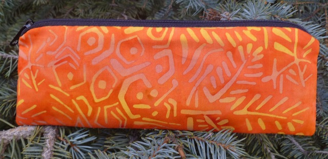 Orange ferns batik pen and pencil case, The Scribe