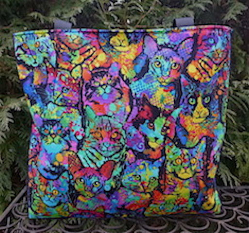 Painted Cats Medium Fleur Tote, wide