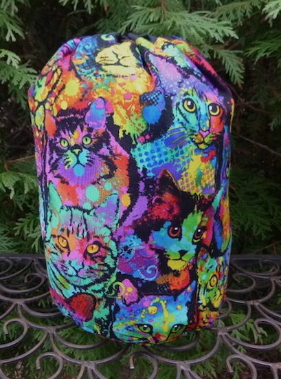 Painted Cats SueBee Round Drawstring Bag