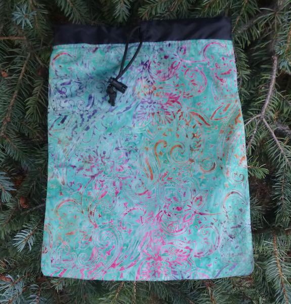 Paisley Batik Flatie Jr. a flat drawstring bag