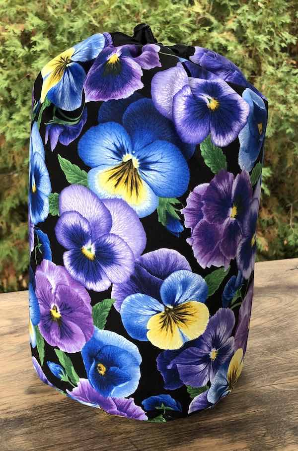 Pansy Perfection drawstring bag, The Large Suebee