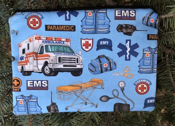 Paramedic on blue zippered bag, The Scooter