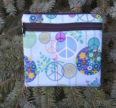 Peace sign convertible clutch, wristlet or shoulder bag, The Squirrel-CLEARANCE
