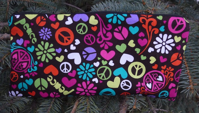 "Peace Sign Swirl pouch for 8"" knitting needles or case for reusable cutlery, The Deep Sleek"