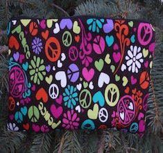 "Peace Sign Swirl pouch for 8"" Knitting Needles, The Deep Sleek"