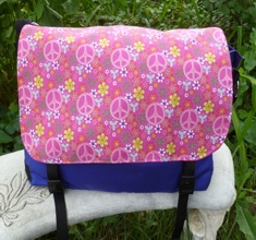 Pink peace signs and flowers Zelda Messenger Bag-CLEARANCE
