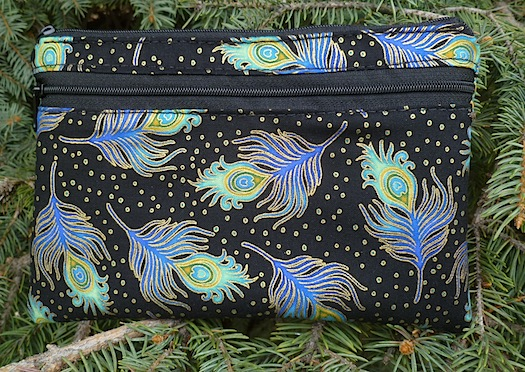 Peacock Feathers Jewels clutch, smart phone wallet, mini shoulder bag, The Wisteria