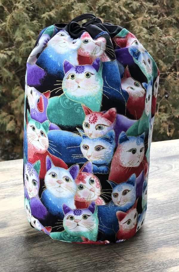 Peeping Kitties SueBee Round Drawstring Bag