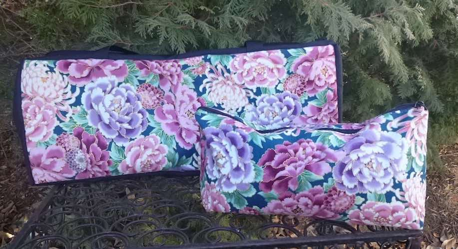 Peony Splendor Mahjongg Storage Set The Zippered Tote-ster and Large Zini