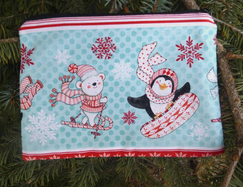 Peppermint Pals Stripe zippered bag, The Scooter