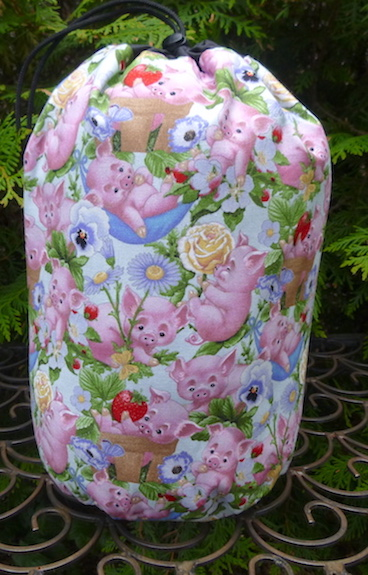 Piglet Play in blue SueBee Round Drawstring Bag