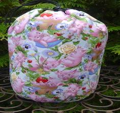 Piglet Play in blue SueBee Round Drawstring Bag