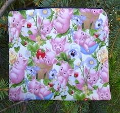 Piglet Play on White zippered bag, The Scooter