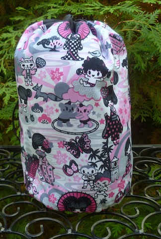 Pink kawaii SueBee Round Drawstring Bag