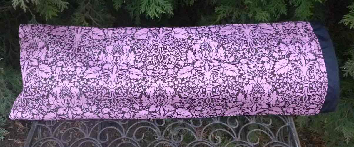 Pink and Brown Damask drawstring sleeve for Mahjongg Racks, The Racker