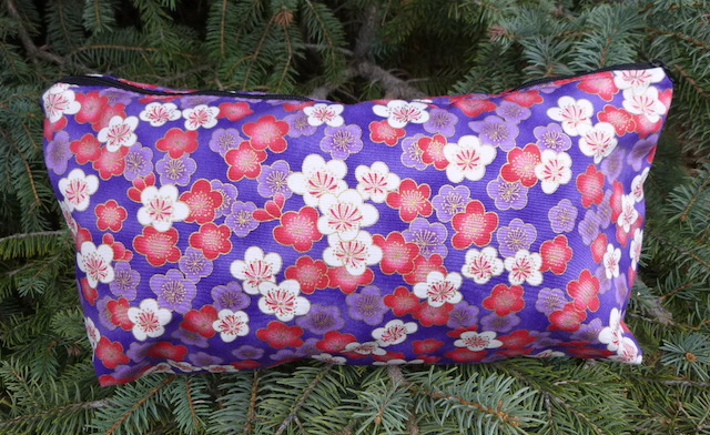 Pink and Purple Cherry Blossoms Large Zini Flat Bottom Bag