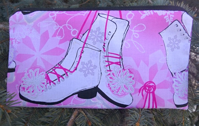 Ice Skates on Pink Deep Scribe pen and pencil case