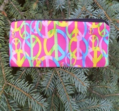 Linked peace signs on pink Scribe Pen and Pencil Case