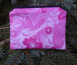 Pink ribbons breast cancer awareness coin purse, The Raven