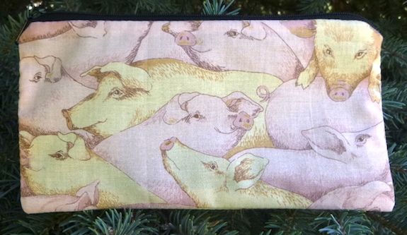 Pink and Yellow Pigs Deep Scribe pen and pencil case