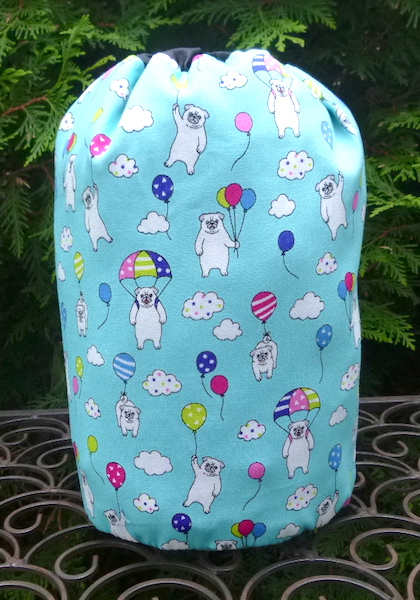 Pugs and Balloons SueBee Round Drawstring Bag