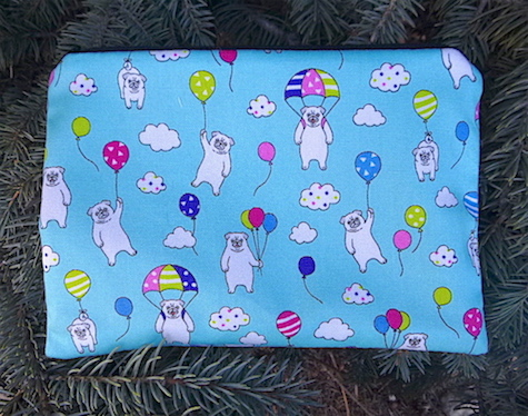 Pugs and Balloons zippered bag, The Scooter