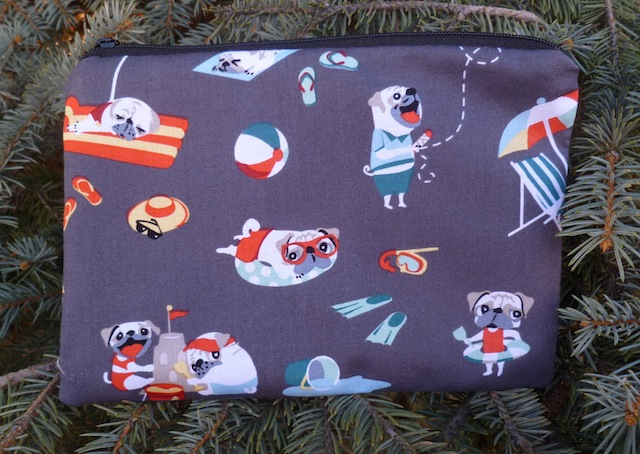 Pugs Day Off zippered bag, The Scooter