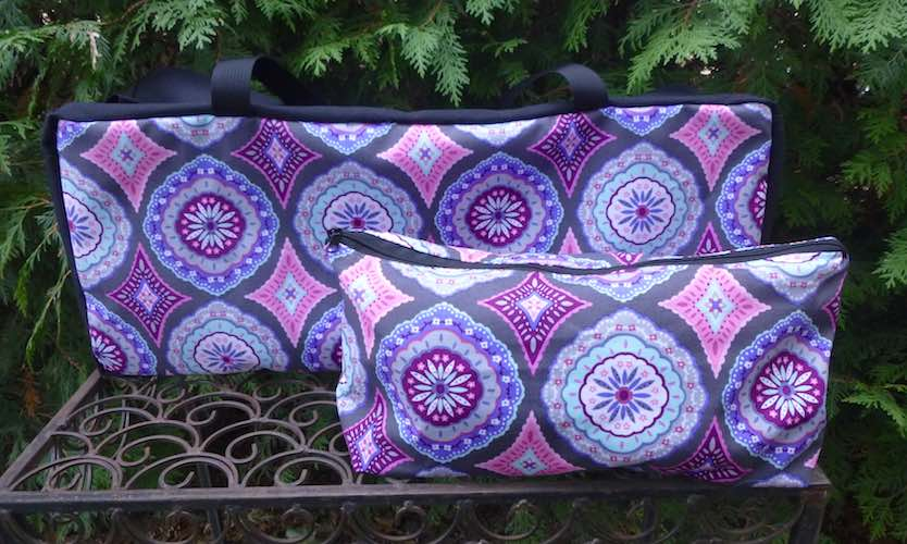 Purple Medallions Mahjongg Storage Set The Zippered Tote-ster and Large Zini