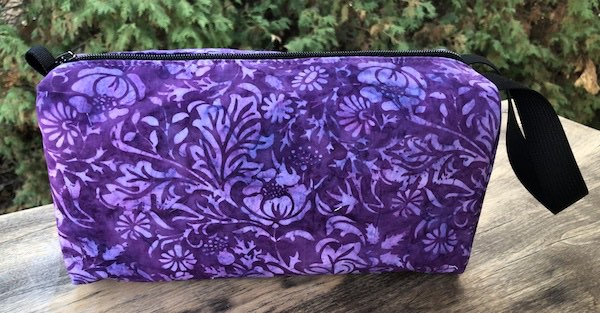 Purple Posies Batik Accessory Bag, The Lily