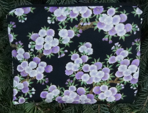 Purple Cherry Blossom Slide Mahjongg card and coin purse