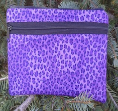 Purple leopard spots clutch, smart phone wallet, mini shoulder bag, The Wisteria