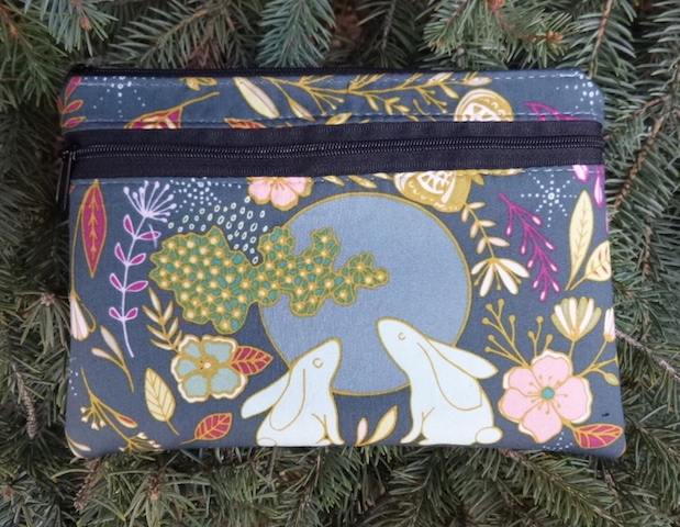 Moon Rabbit clutch, smart phone wallet, mini shoulder bag, iPhone 6 wallet, The Wisteria